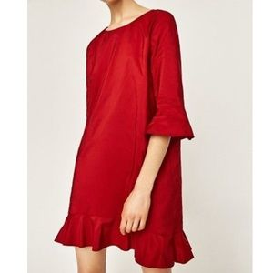 ZARA Red Frilled Shift Dress Size S